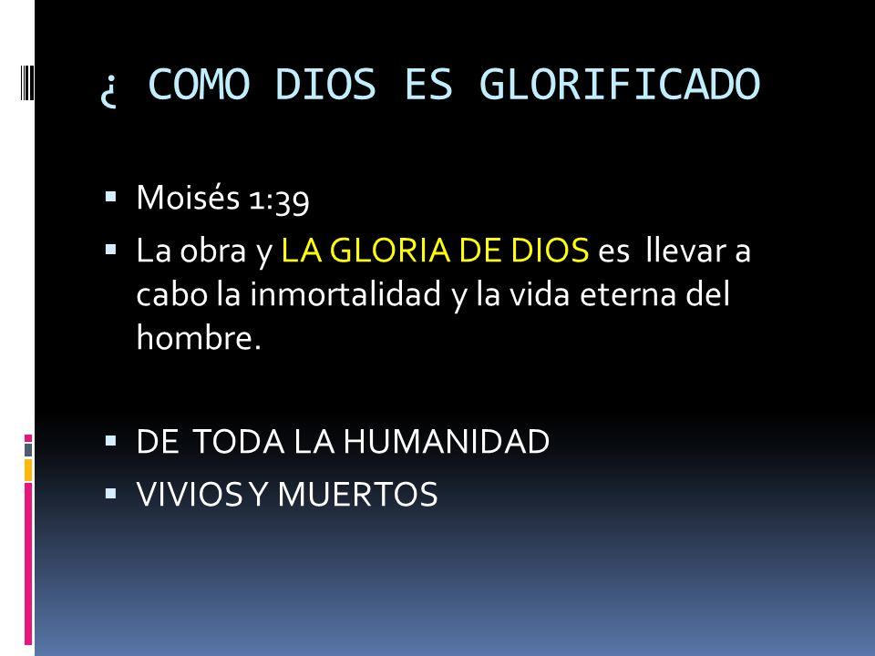 ¿ COMO DIOS ES GLORIFICADO Moisés 1:39 La obra y LA GLORIA DE DIOS es llevar a cabo la inmortalidad y la vida eterna del hombre. DE TODA LA HUMANIDAD
