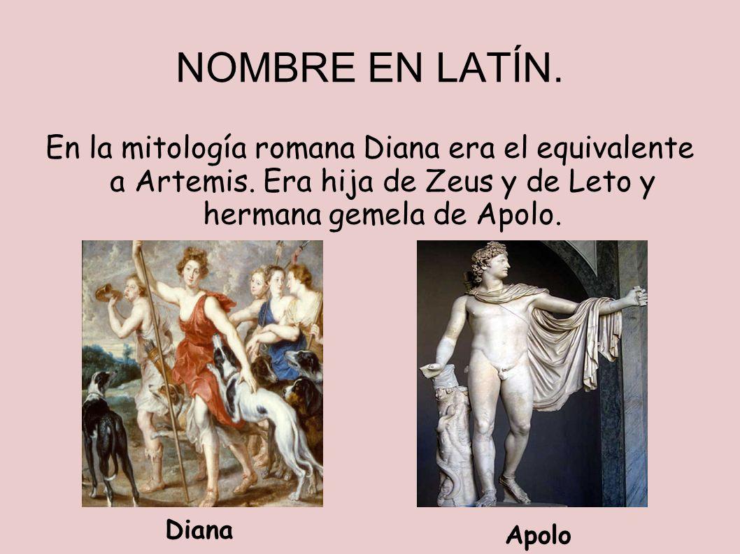 NOMBRE EN LATÍN. En la mitología romana Diana era el equivalente a Artemis. Era hija de Zeus y de Leto y hermana gemela de Apolo. Diana Apolo