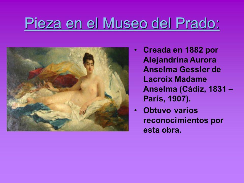 Pieza en el Museo del Prado: Creada en 1882 por Alejandrina Aurora Anselma Gessler de Lacroix Madame Anselma (Cádiz, 1831 – París, 1907). Obtuvo vario