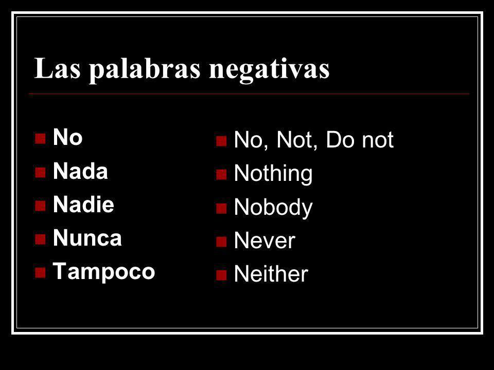 Las palabras negativas No Nada Nadie Nunca Tampoco No, Not, Do not Nothing Nobody Never Neither