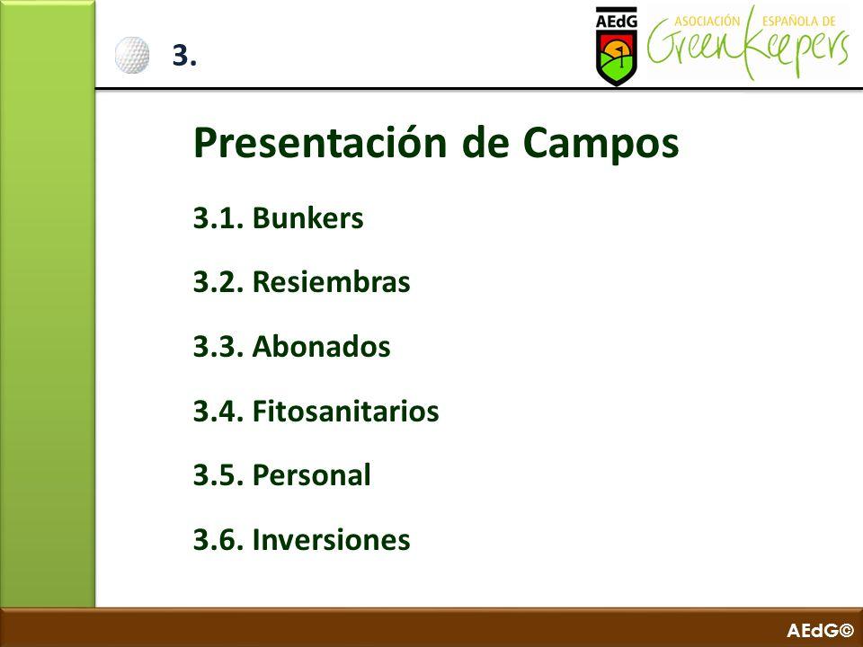 AEdG© 3. Presentación de Campos 3.1. Bunkers 3.2. Resiembras 3.3. Abonados 3.4. Fitosanitarios 3.5. Personal 3.6. Inversiones