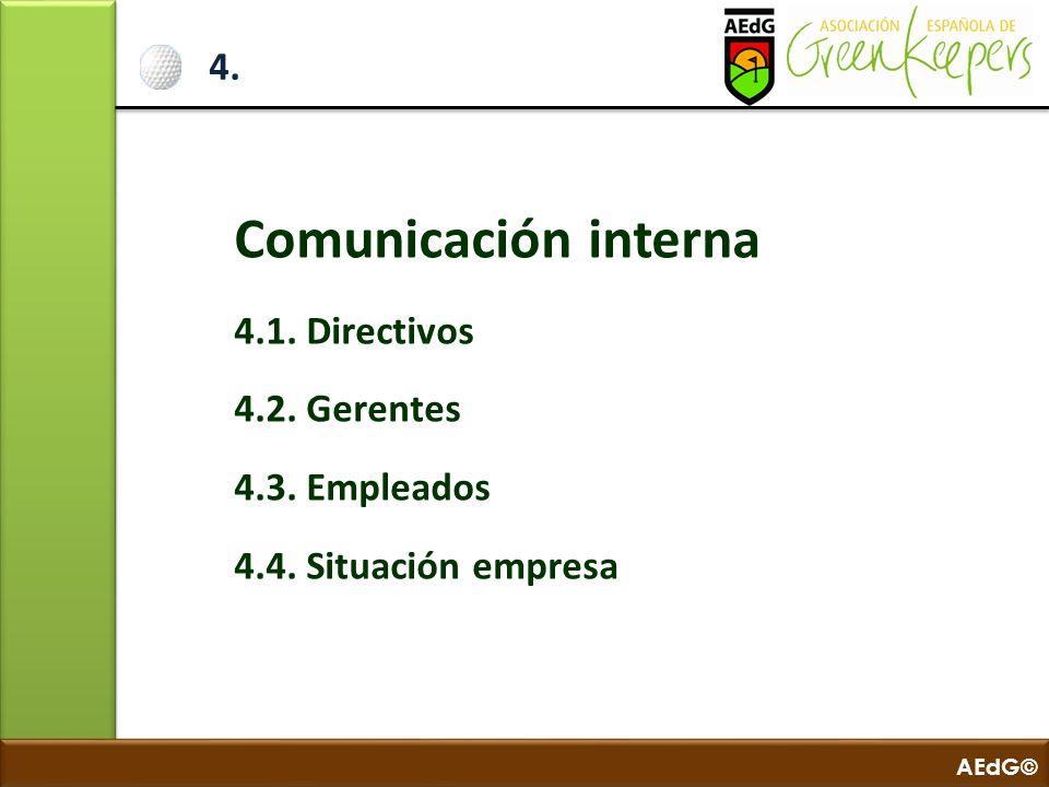 AEdG© 4. Comunicación interna 4.1. Directivos 4.2. Gerentes 4.3. Empleados 4.4. Situación empresa