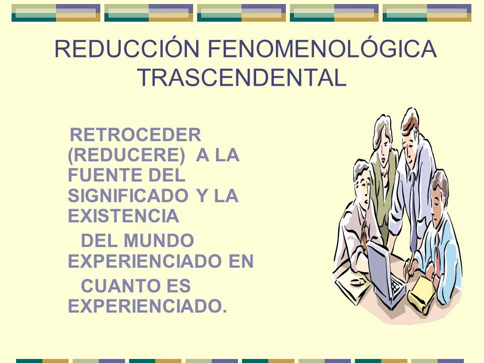 REDUCCIÓN FENOMENOLÓGICA TRASCENDENTAL RETROCEDER (REDUCERE) A LA FUENTE DEL SIGNIFICADO Y LA EXISTENCIA DEL MUNDO EXPERIENCIADO EN CUANTO ES EXPERIEN