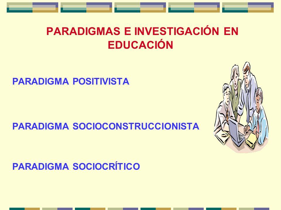 PARADIGMAS E INVESTIGACIÓN EN EDUCACIÓN PARADIGMA POSITIVISTA PARADIGMA SOCIOCONSTRUCCIONISTA PARADIGMA SOCIOCRÍTICO