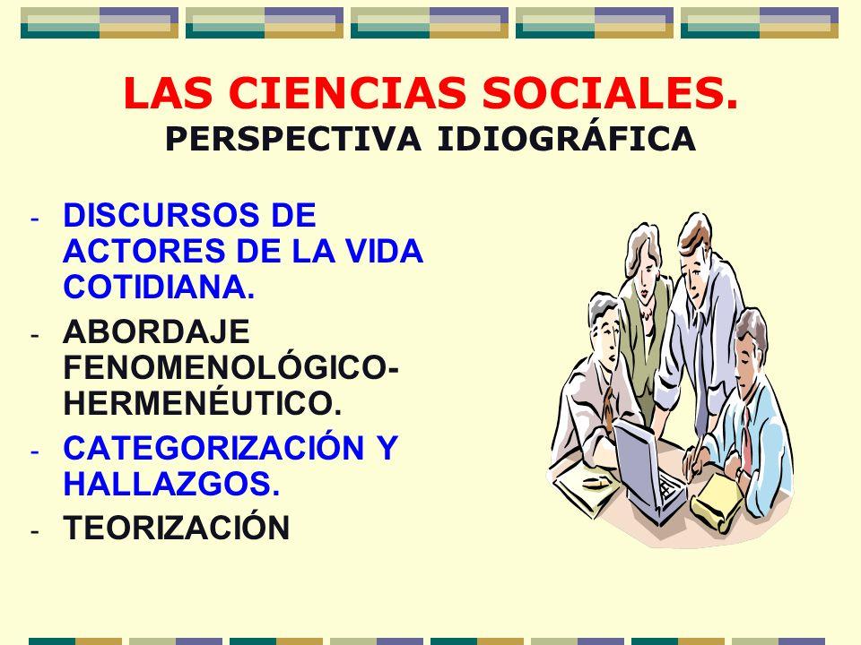 LAS CIENCIAS SOCIALES. PERSPECTIVA IDIOGRÁFICA - DISCURSOS DE ACTORES DE LA VIDA COTIDIANA. - ABORDAJE FENOMENOLÓGICO- HERMENÉUTICO. - CATEGORIZACIÓN