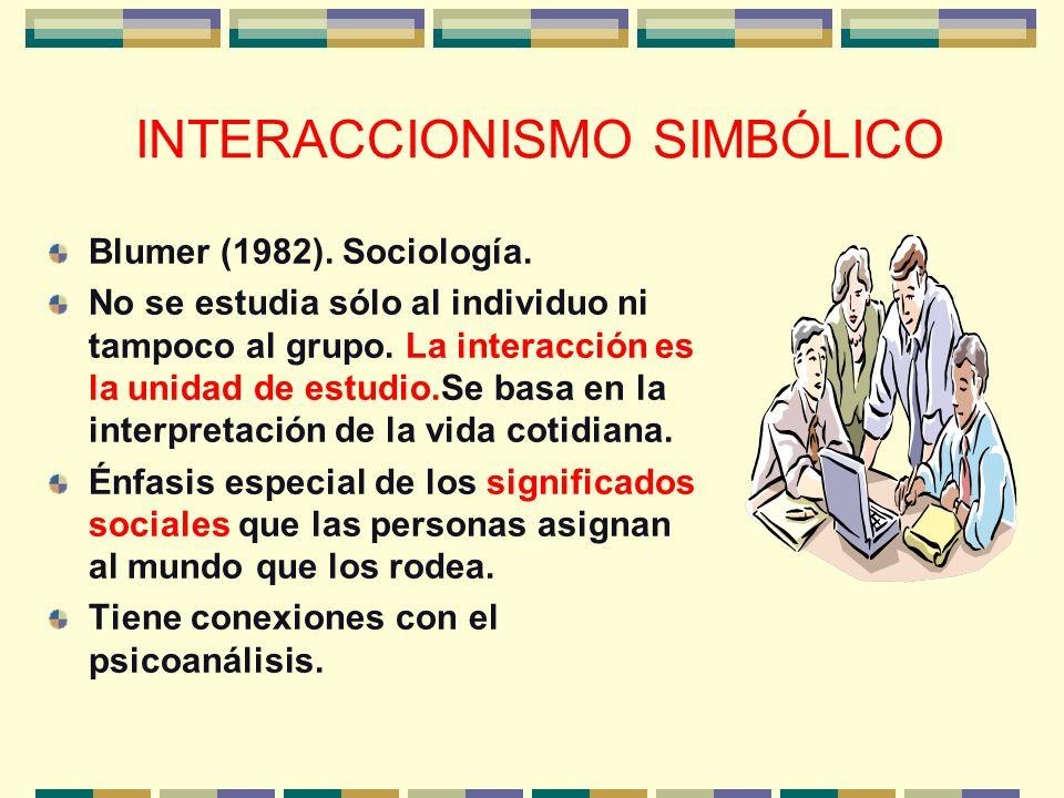 INTERACCIONISMO SIMBÓLICO Blumer (1982). Sociología. No se estudia sólo al individuo ni tampoco al grupo. La interacción es la unidad de estudio.Se ba