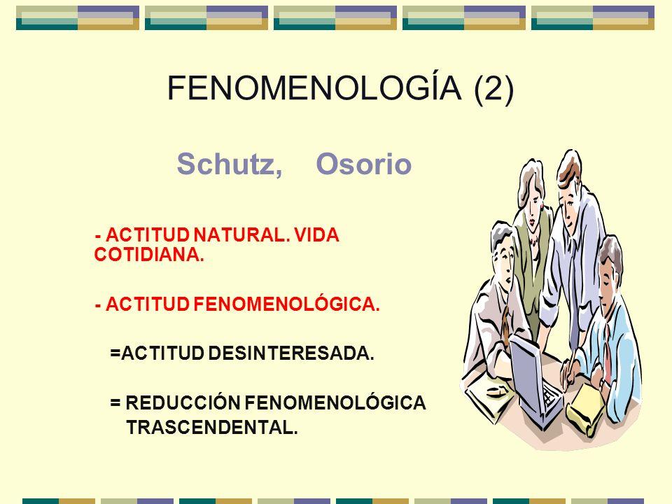 FENOMENOLOGÍA (2) Schutz, Osorio - ACTITUD NATURAL. VIDA COTIDIANA. - ACTITUD FENOMENOLÓGICA. =ACTITUD DESINTERESADA. = REDUCCIÓN FENOMENOLÓGICA TRASC