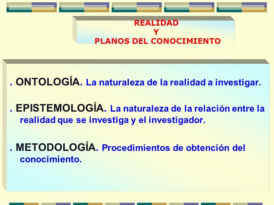 REALIDAD Y PLANOS DEL CONOCIMIENTO.ONTOLOGÍA. La naturaleza de la realidad a investigar..