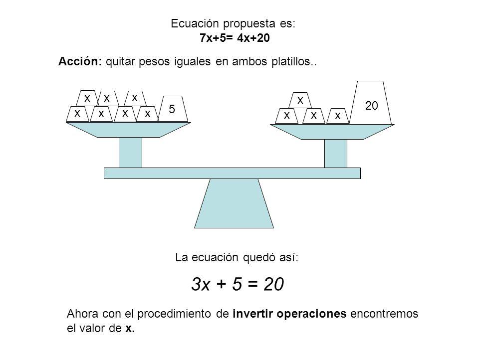 x x x x x x x x xx x 5 20 Ecuación propuesta es: 7x+5= 4x+20 Acción: quitar pesos iguales en ambos platillos.. La ecuación quedó así: 3x + 5 = 20 Ahor