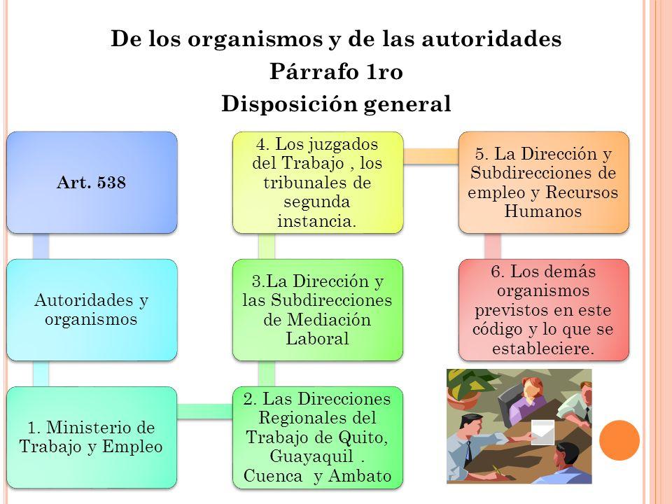 De los organismos y de las autoridades Párrafo 1ro Disposición general Art. 538 Autoridades y organismos 1. Ministerio de Trabajo y Empleo 2. Las Dire