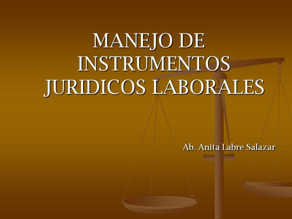 MANEJO DE INSTRUMENTOS JURIDICOS LABORALES Ab. Anita Labre Salazar Ab. Anita Labre Salazar