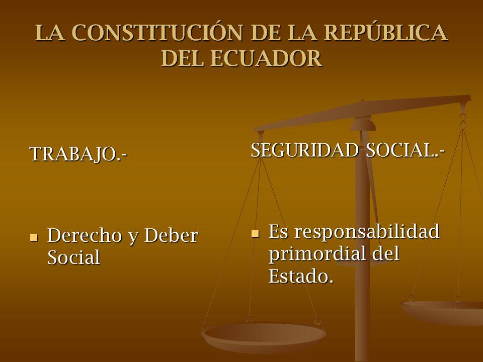 LA CONSTITUCIÓN DE LA REPÚBLICA DEL ECUADOR TRABAJO.- Derecho y Deber Social Derecho y Deber Social SEGURIDAD SOCIAL.- Es responsabilidad primordial d
