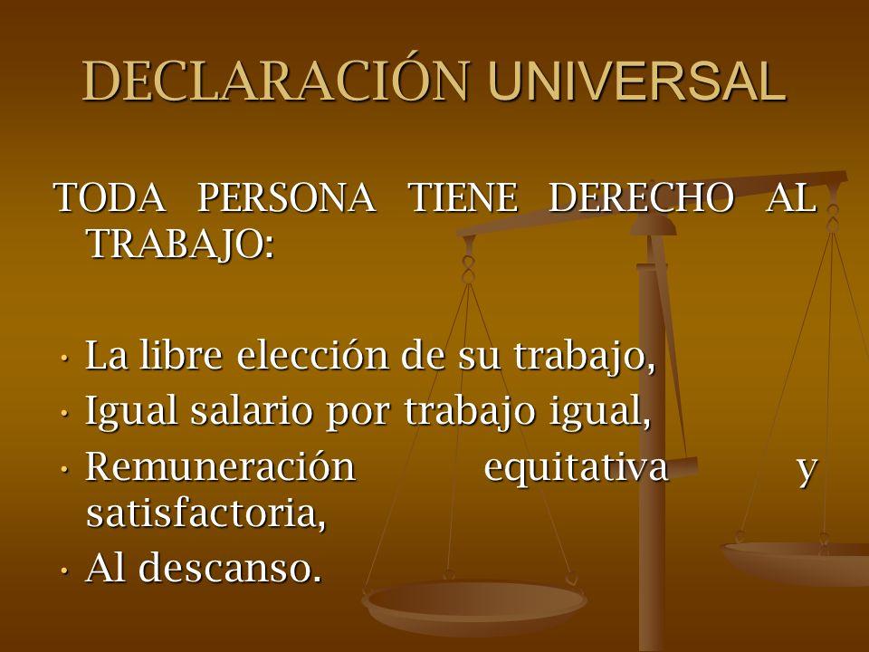 DECLARACIÓN UNIVERSAL TODA PERSONA TIENE DERECHO AL TRABAJO: La libre elección de su trabajo,La libre elección de su trabajo, Igual salario por trabaj