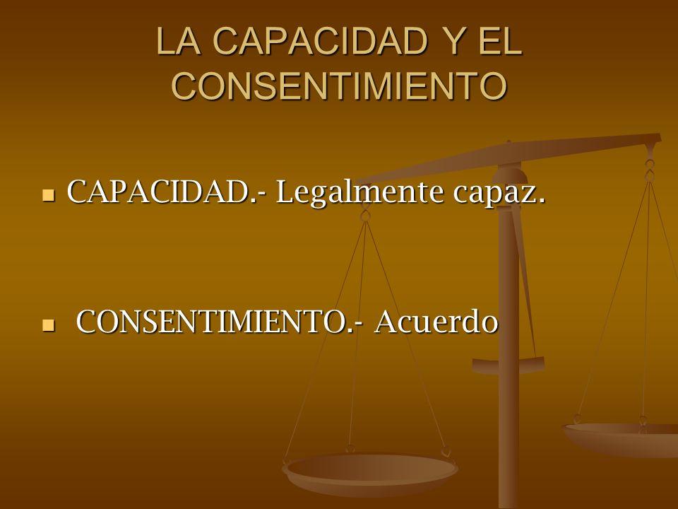 LA CAPACIDAD Y EL CONSENTIMIENTO CAPACIDAD.- Legalmente capaz. CAPACIDAD.- Legalmente capaz. CONSENTIMIENTO.- Acuerdo CONSENTIMIENTO.- Acuerdo