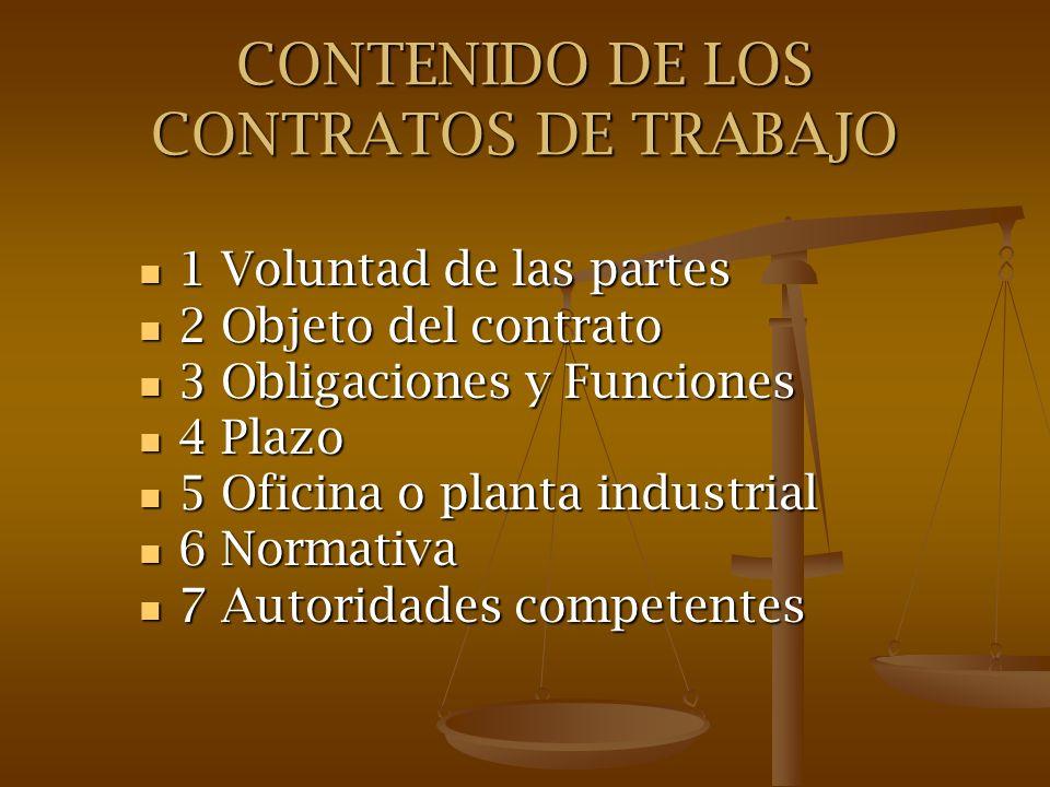 CONTENIDO DE LOS CONTRATOS DE TRABAJO 1 Voluntad de las partes 1 Voluntad de las partes 2 Objeto del contrato 2 Objeto del contrato 3 Obligaciones y F