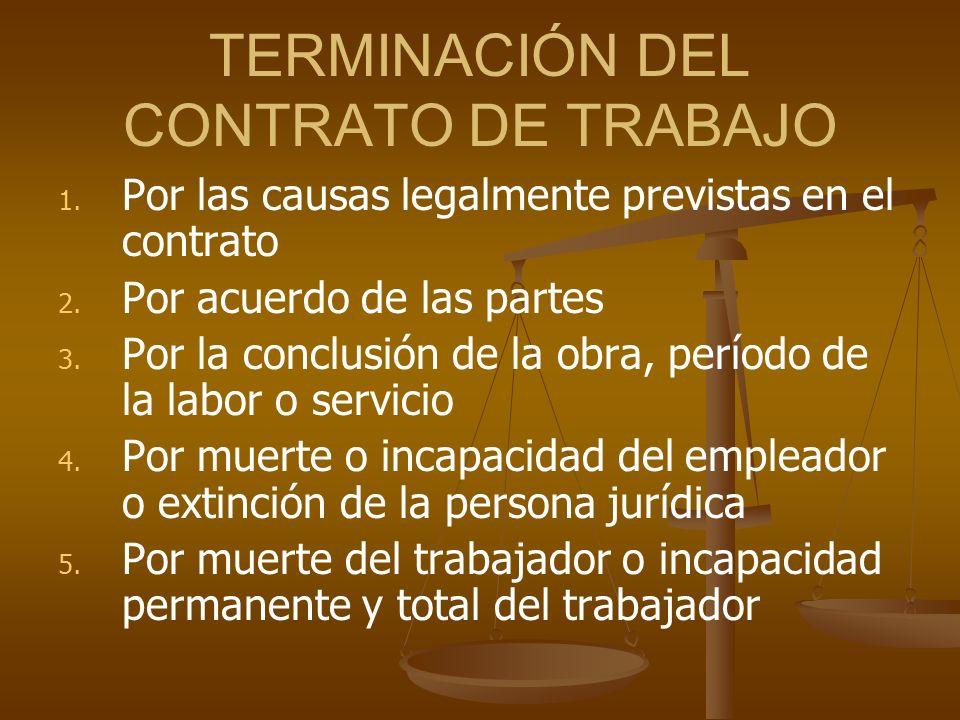 TERMINACIÓN DEL CONTRATO DE TRABAJO 1. 1. Por las causas legalmente previstas en el contrato 2. 2. Por acuerdo de las partes 3. 3. Por la conclusión d