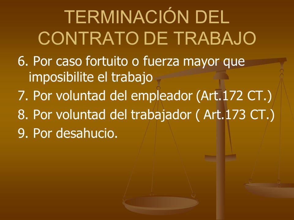 TERMINACIÓN DEL CONTRATO DE TRABAJO 6. Por caso fortuito o fuerza mayor que imposibilite el trabajo 7. Por voluntad del empleador (Art.172 CT.) 8. Por