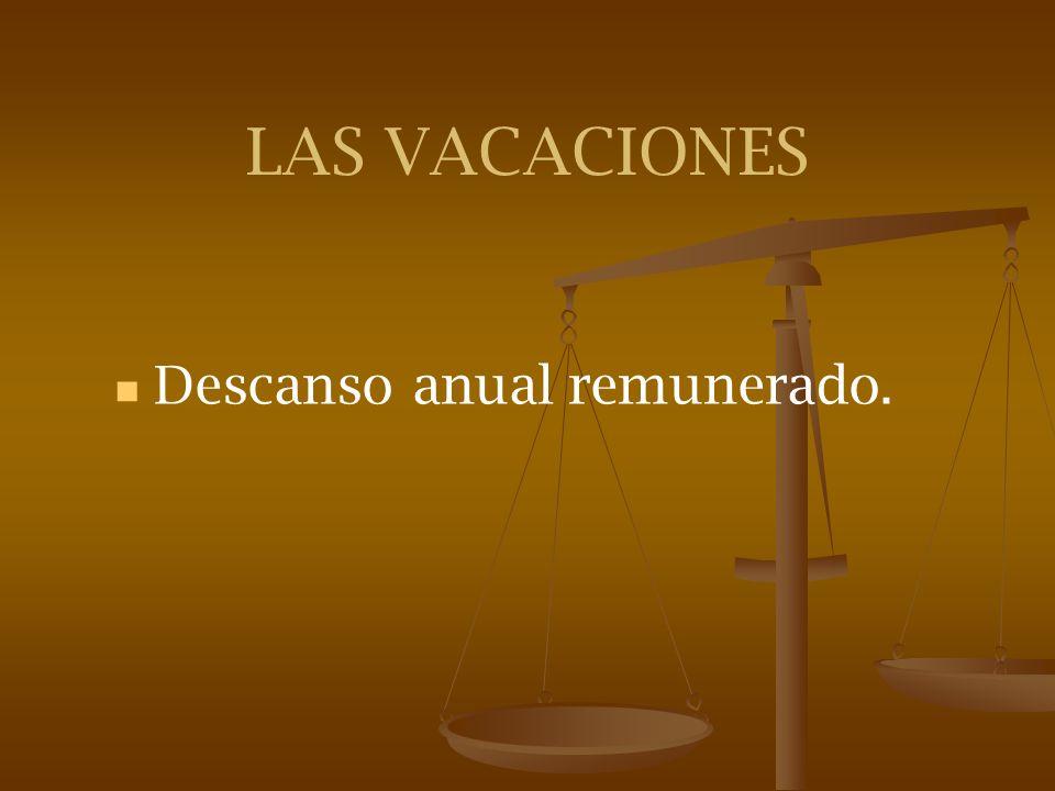 LAS VACACIONES Descanso anual remunerado.