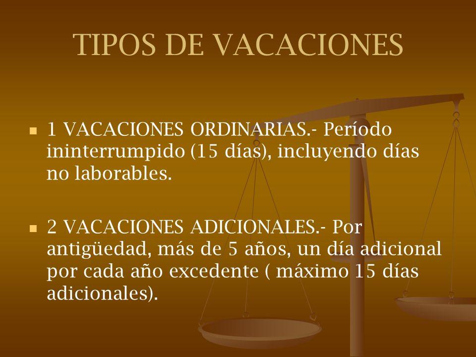TIPOS DE VACACIONES 1 VACACIONES ORDINARIAS.- Período ininterrumpido (15 días), incluyendo días no laborables. 2 VACACIONES ADICIONALES.- Por antigüed