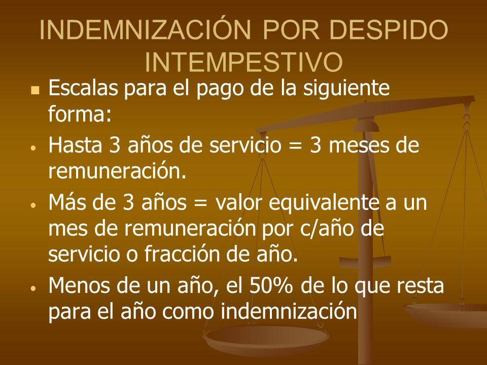 INDEMNIZACIÓN POR DESPIDO INTEMPESTIVO Escalas para el pago de la siguiente forma: Hasta 3 años de servicio = 3 meses de remuneración. Más de 3 años =