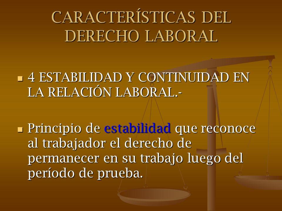 CARACTERÍSTICAS DEL DERECHO LABORAL 4 ESTABILIDAD Y CONTINUIDAD EN LA RELACIÓN LABORAL.- 4 ESTABILIDAD Y CONTINUIDAD EN LA RELACIÓN LABORAL.- Principi