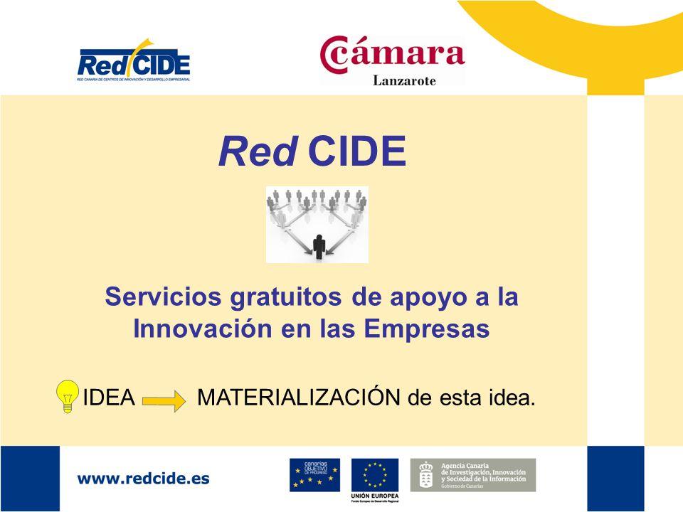 Servicios gratuitos de apoyo a la Innovación en las Empresas IDEA MATERIALIZACIÓN de esta idea. Red CIDE