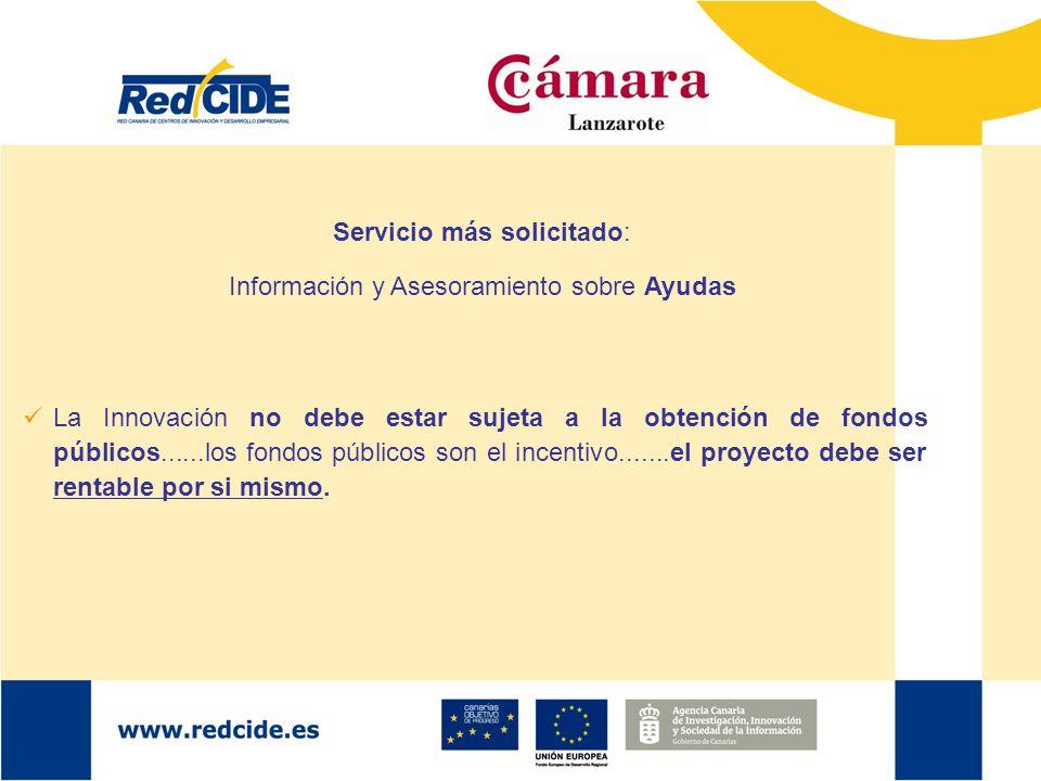 Servicio más solicitado: Información y Asesoramiento sobre Ayudas La Innovación no debe estar sujeta a la obtención de fondos públicos......los fondos