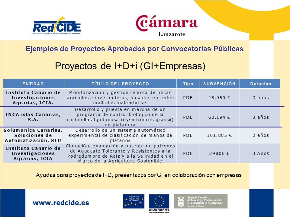 Ejemplos de Proyectos Aprobados por Convocatorias Públicas Proyectos de I+D+i (GI+Empresas) Ayudas para proyectos de I+D, presentados por GI en colabo