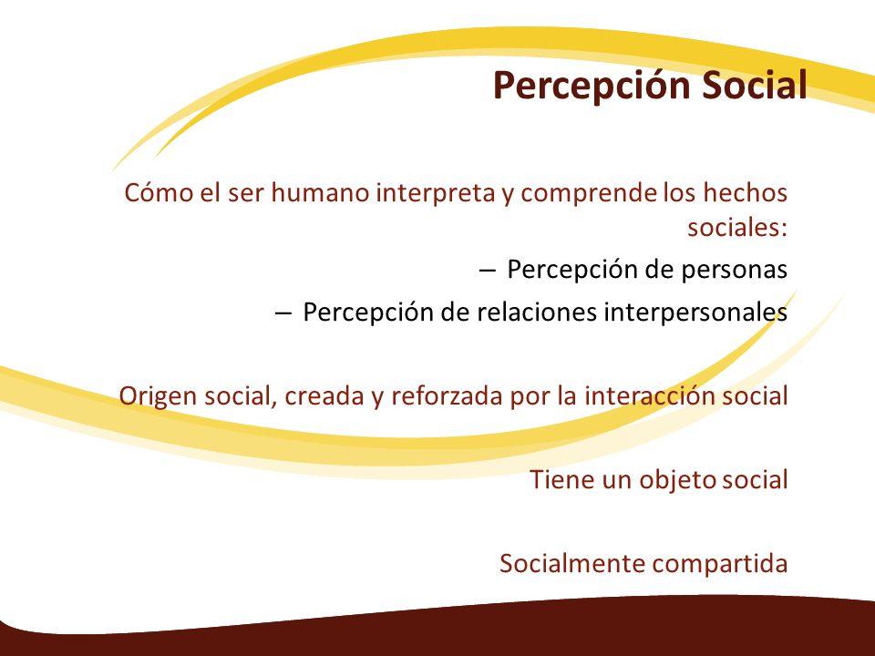 Percepción Social Cómo el ser humano interpreta y comprende los hechos sociales: – Percepción de personas – Percepción de relaciones interpersonales O