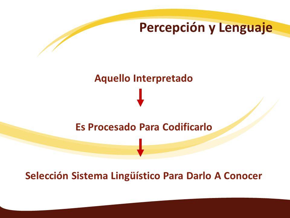 Aquello Interpretado Es Procesado Para Codificarlo Selección Sistema Lingüístico Para Darlo A Conocer Percepción y Lenguaje