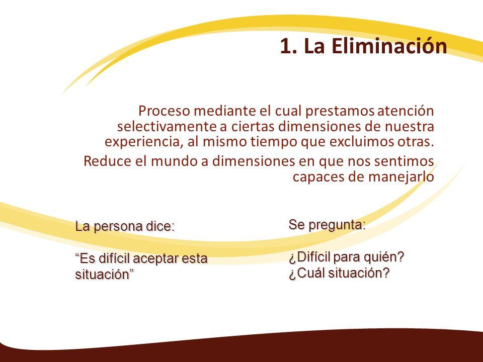 1. La Eliminación Proceso mediante el cual prestamos atención selectivamente a ciertas dimensiones de nuestra experiencia, al mismo tiempo que excluim
