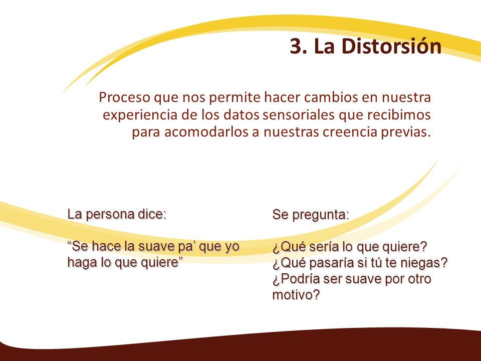 3. La Distorsión Proceso que nos permite hacer cambios en nuestra experiencia de los datos sensoriales que recibimos para acomodarlos a nuestras creen