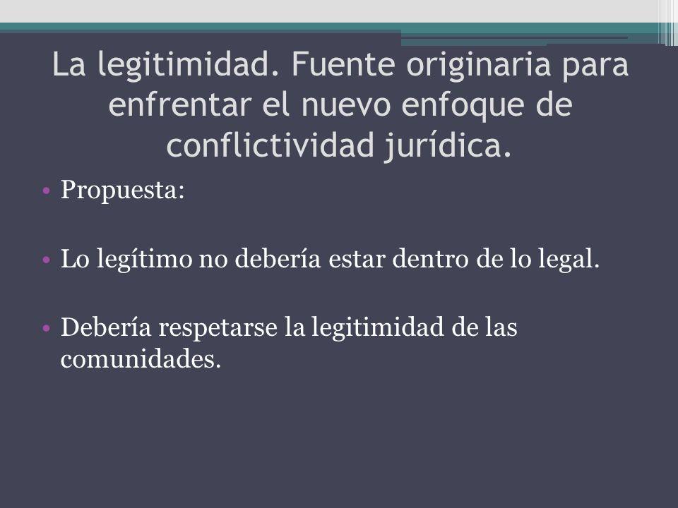 La legitimidad. Fuente originaria para enfrentar el nuevo enfoque de conflictividad jurídica. Propuesta: Lo legítimo no debería estar dentro de lo leg