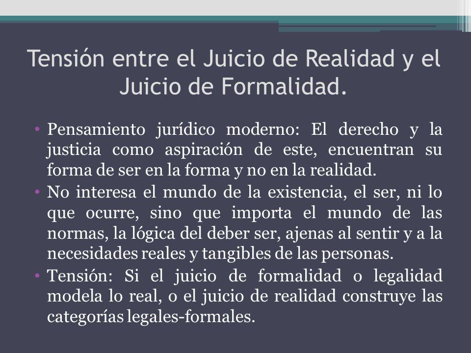 Tensión entre el Juicio de Realidad y el Juicio de Formalidad. Pensamiento jurídico moderno: El derecho y la justicia como aspiración de este, encuent