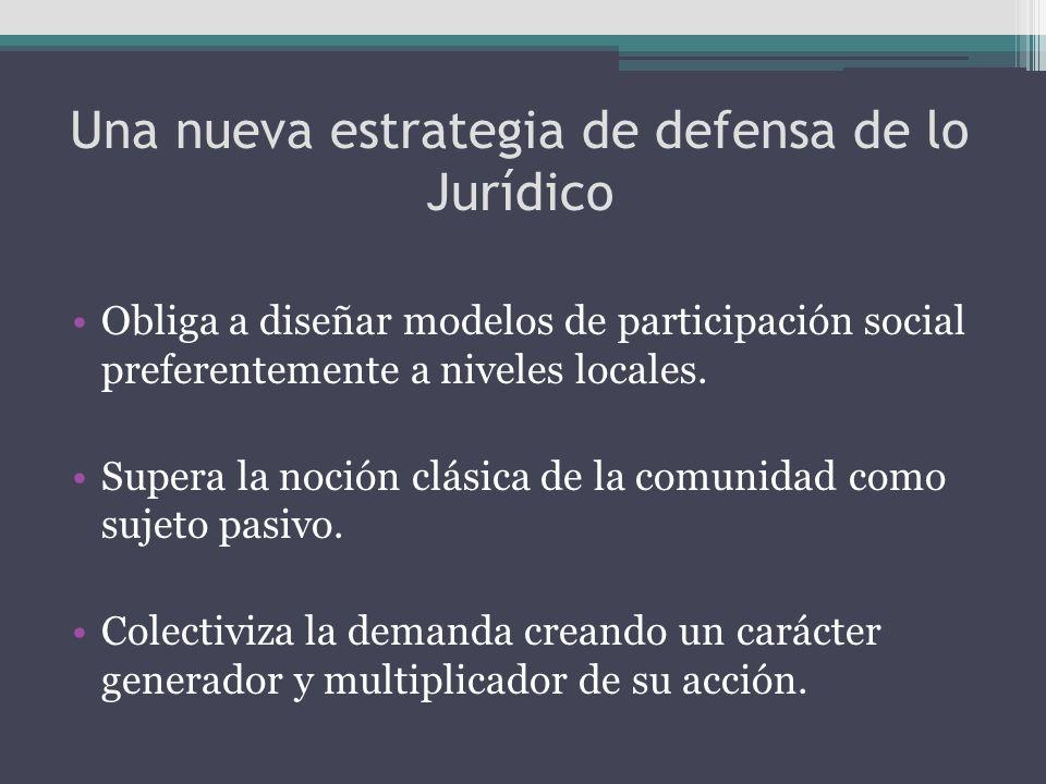 Una nueva estrategia de defensa de lo Jurídico Obliga a diseñar modelos de participación social preferentemente a niveles locales. Supera la noción cl