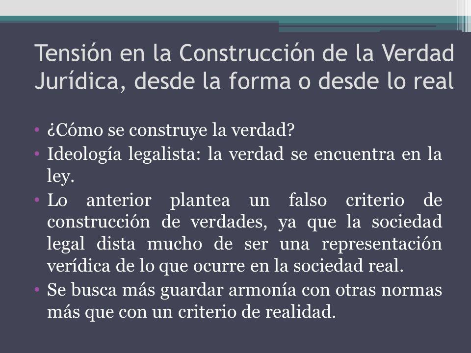Tensión en la Construcción de la Verdad Jurídica, desde la forma o desde lo real ¿Cómo se construye la verdad? Ideología legalista: la verdad se encue