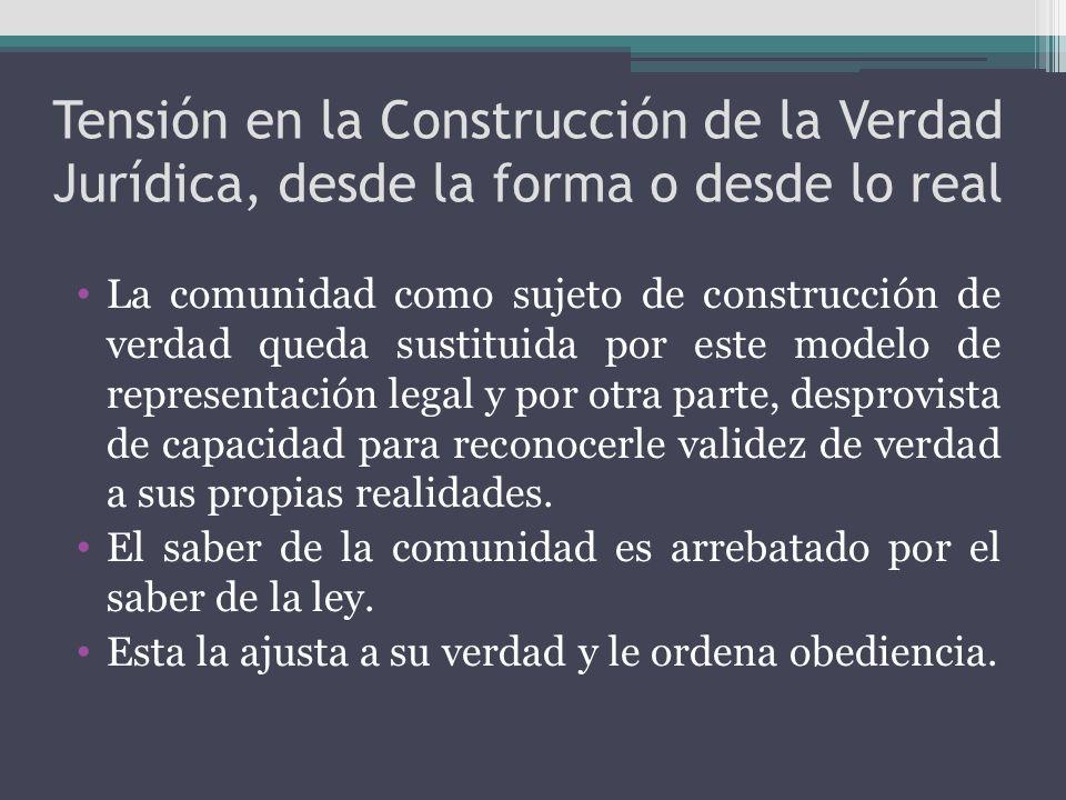 Tensión en la Construcción de la Verdad Jurídica, desde la forma o desde lo real La comunidad como sujeto de construcción de verdad queda sustituida p
