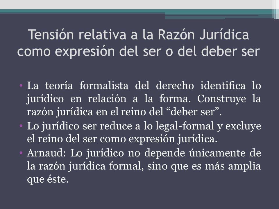 Tensión relativa a la Razón Jurídica como expresión del ser o del deber ser La teoría formalista del derecho identifica lo jurídico en relación a la f