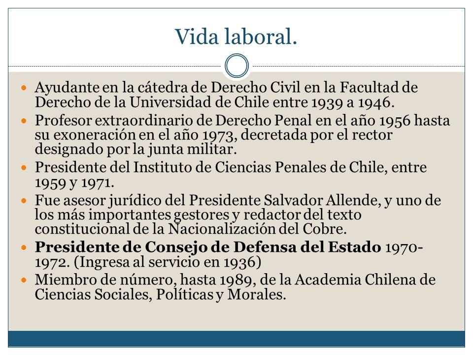 Vida laboral. Ayudante en la cátedra de Derecho Civil en la Facultad de Derecho de la Universidad de Chile entre 1939 a 1946. Profesor extraordinario