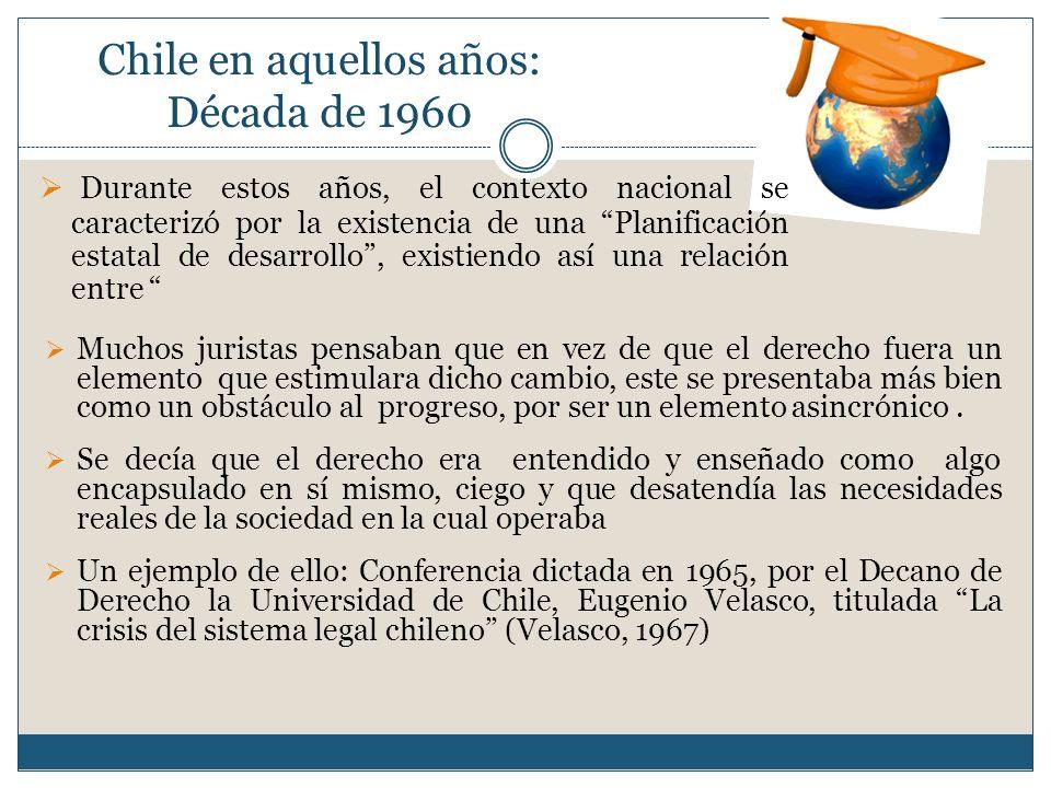 Chile en aquellos años: Década de 1960 Muchos juristas pensaban que en vez de que el derecho fuera un elemento que estimulara dicho cambio, este se pr