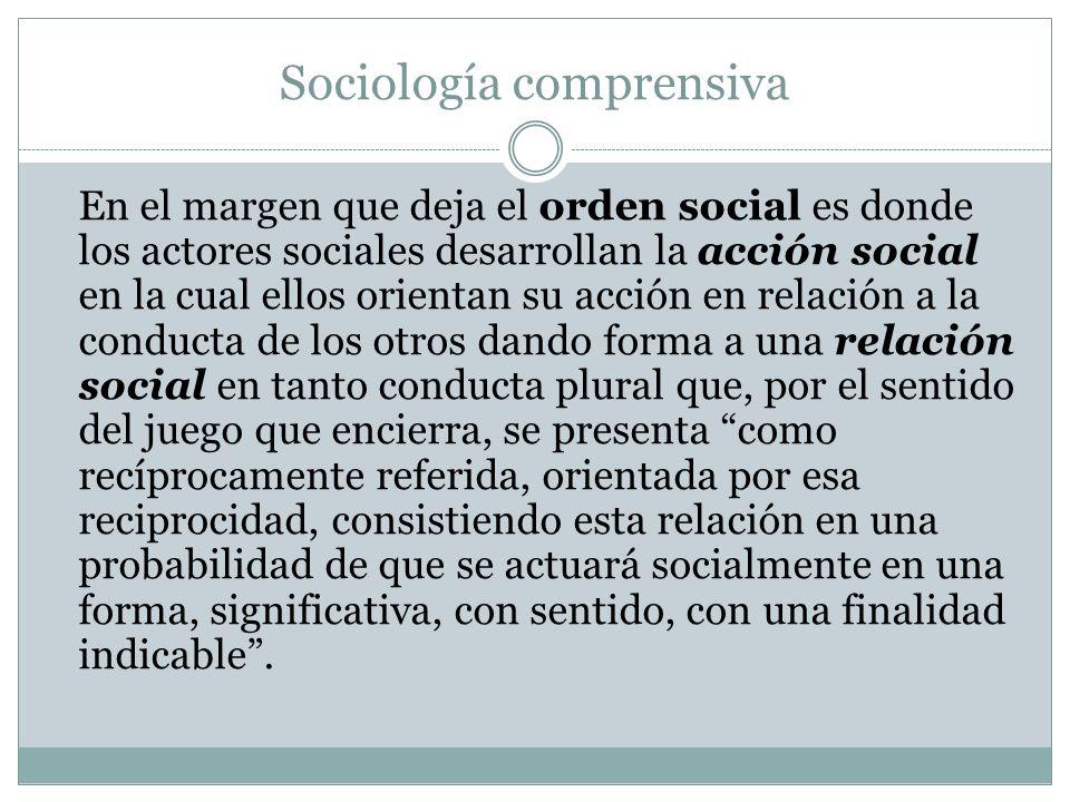Sociología comprensiva En el margen que deja el orden social es donde los actores sociales desarrollan la acción social en la cual ellos orientan su a