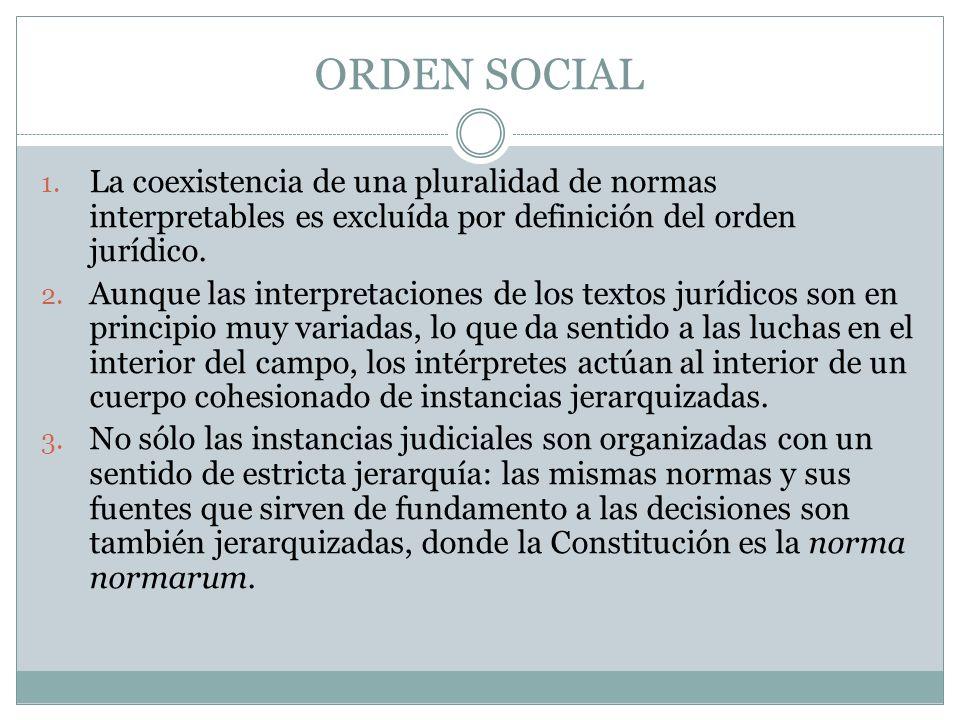 ORDEN SOCIAL 1. La coexistencia de una pluralidad de normas interpretables es excluída por definición del orden jurídico. 2. Aunque las interpretacion