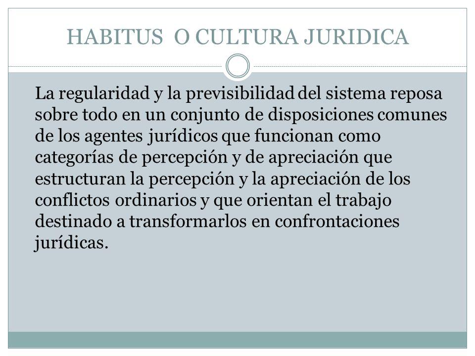 HABITUS O CULTURA JURIDICA La regularidad y la previsibilidad del sistema reposa sobre todo en un conjunto de disposiciones comunes de los agentes jur