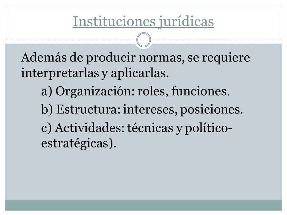 Instituciones jurídicas Además de producir normas, se requiere interpretarlas y aplicarlas. a) Organización: roles, funciones. b) Estructura: interese