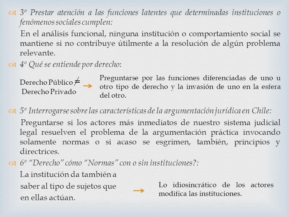 3º Prestar atención a las funciones latentes que determinadas instituciones o fenómenos sociales cumplen: En el análisis funcional, ninguna institució