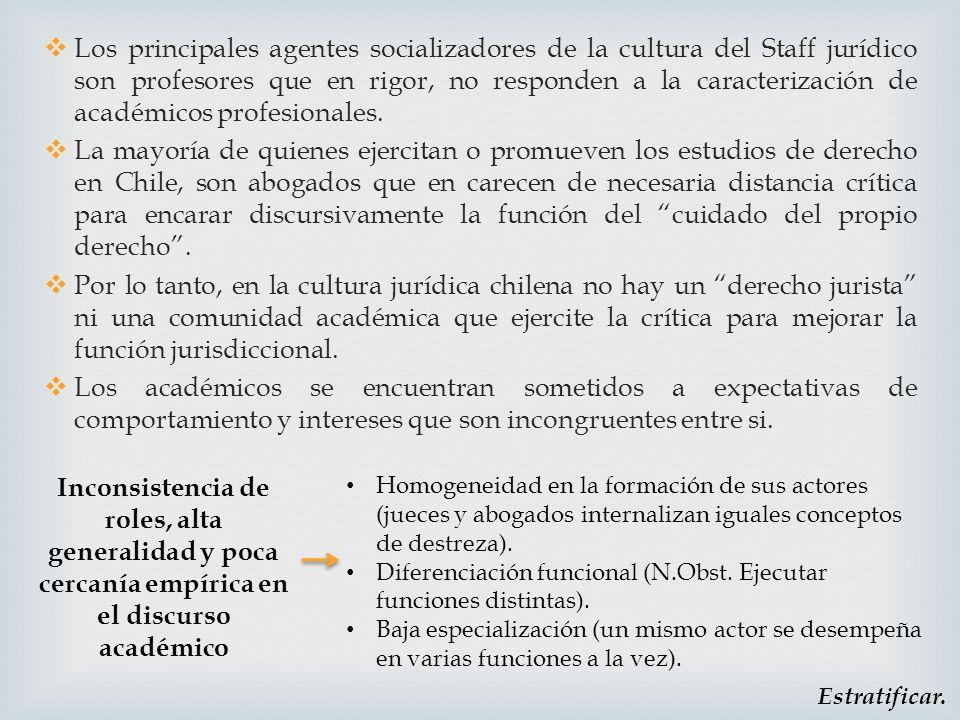 Los principales agentes socializadores de la cultura del Staff jurídico son profesores que en rigor, no responden a la caracterización de académicos profesionales.