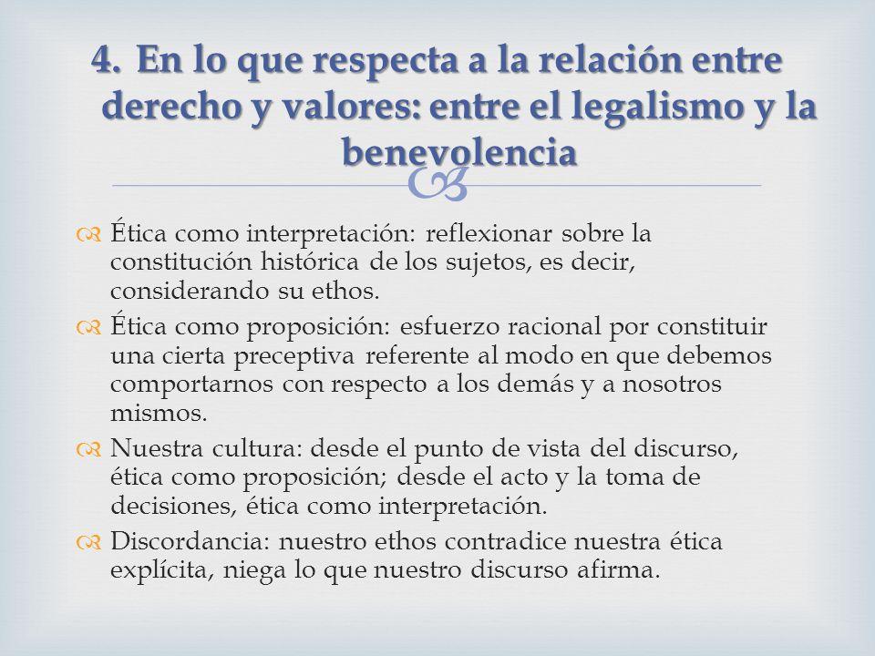 Ética como interpretación: reflexionar sobre la constitución histórica de los sujetos, es decir, considerando su ethos. Ética como proposición: esfuer