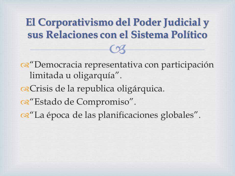 Democracia representativa con participación limitada u oligarquía. Crisis de la republica oligárquica. Estado de Compromiso. La época de las planifica