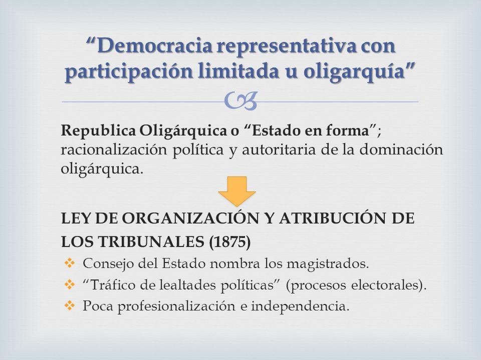 Republica Oligárquica o Estado en forma ; racionalización política y autoritaria de la dominación oligárquica. LEY DE ORGANIZACIÓN Y ATRIBUCIÓN DE LOS
