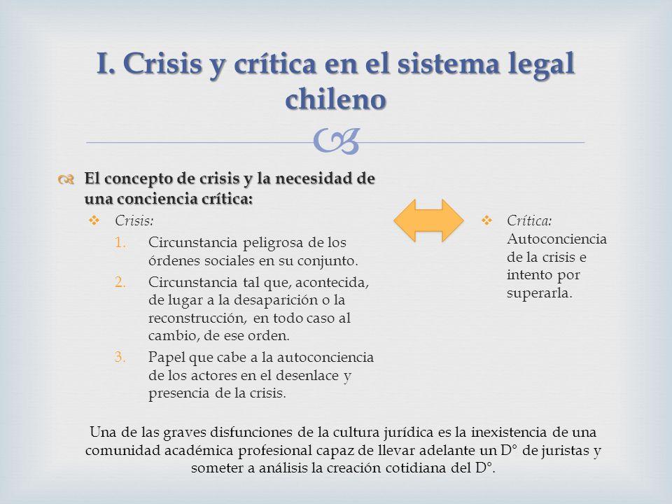 I. Crisis y crítica en el sistema legal chileno El concepto de crisis y la necesidad de una conciencia crítica: El concepto de crisis y la necesidad d